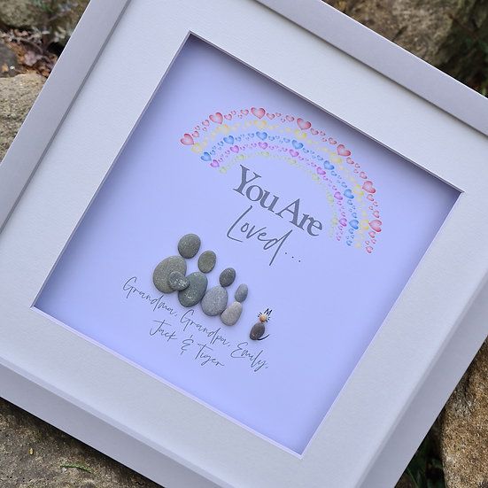 """You Are Loved"" Rainbow Pebble Family"