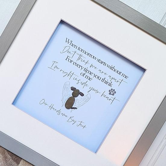 Bereavement / Memory Dog Personalised Framed Pebble Art