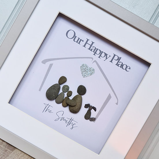 """""""Our Happy Place"""" Family Pebble Picture"""