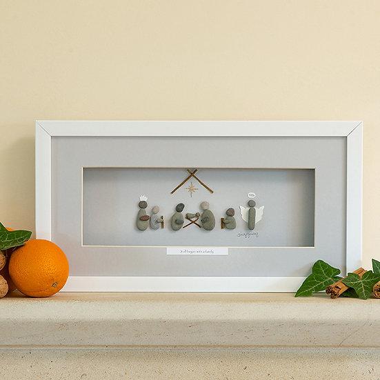 Nativity Christmas Framed Pebble Artwork