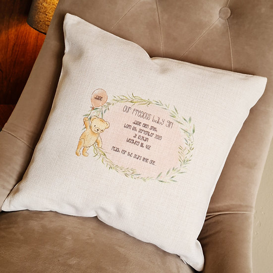 Personalised New Baby Bear Cushion (Pink)
