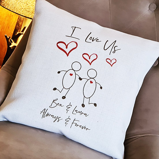 Personalised I Love Us Cushion Couple/Anniversary