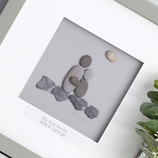 """My Dad Rocks"" Personalised Father's Day Pebble Artwork"