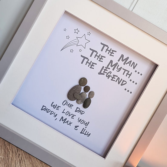 """The Legend"" Personalised Father's Day Pebble Artwork"