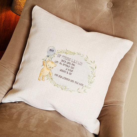 Personalised New Baby Bear Cushion (Blue)