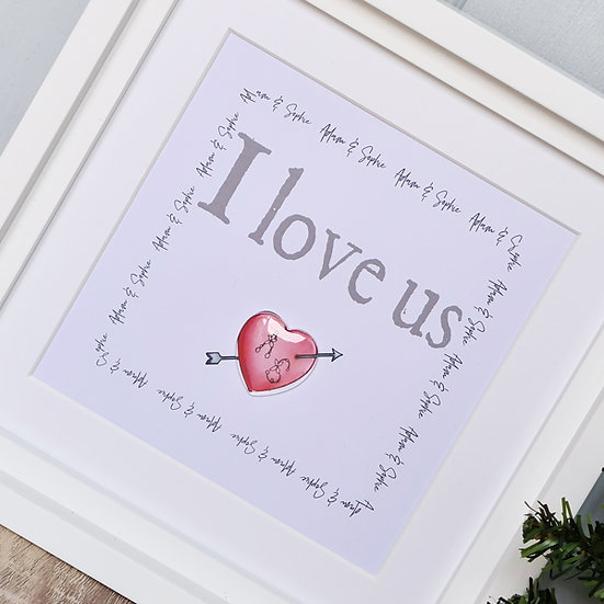 """I Love Us"" Personalised Heart Picture"
