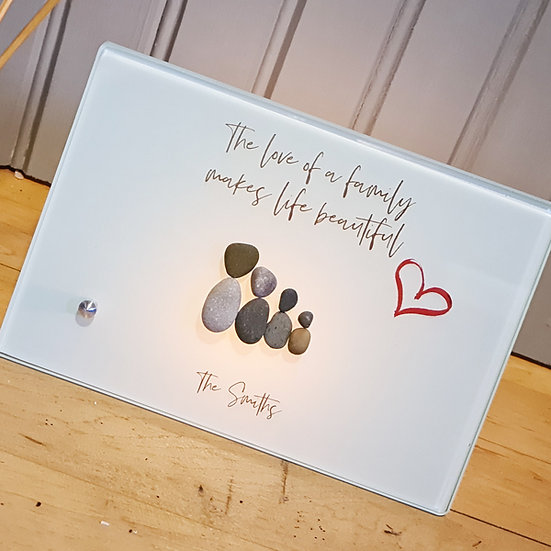 The Love Of A Family Pebble Glass Artwork