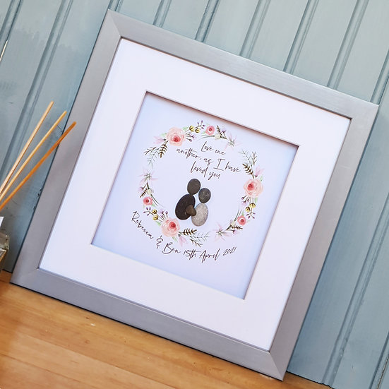 Personalised Christian Pebble Wedding Framed Artwork