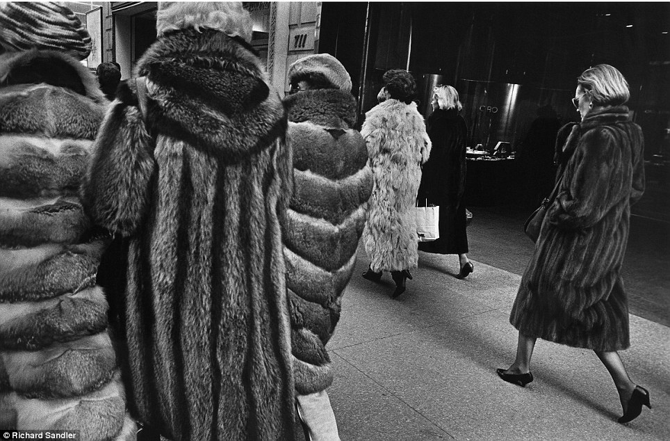 Ladies who lunch- Women stalk Manhattan's Fifth Avenue clad in expensive fur coats in 1987
