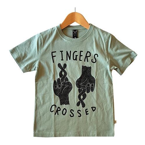 Fingers Crossed Tee Green