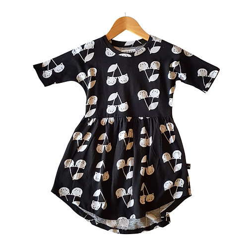 Black cat swirl dress