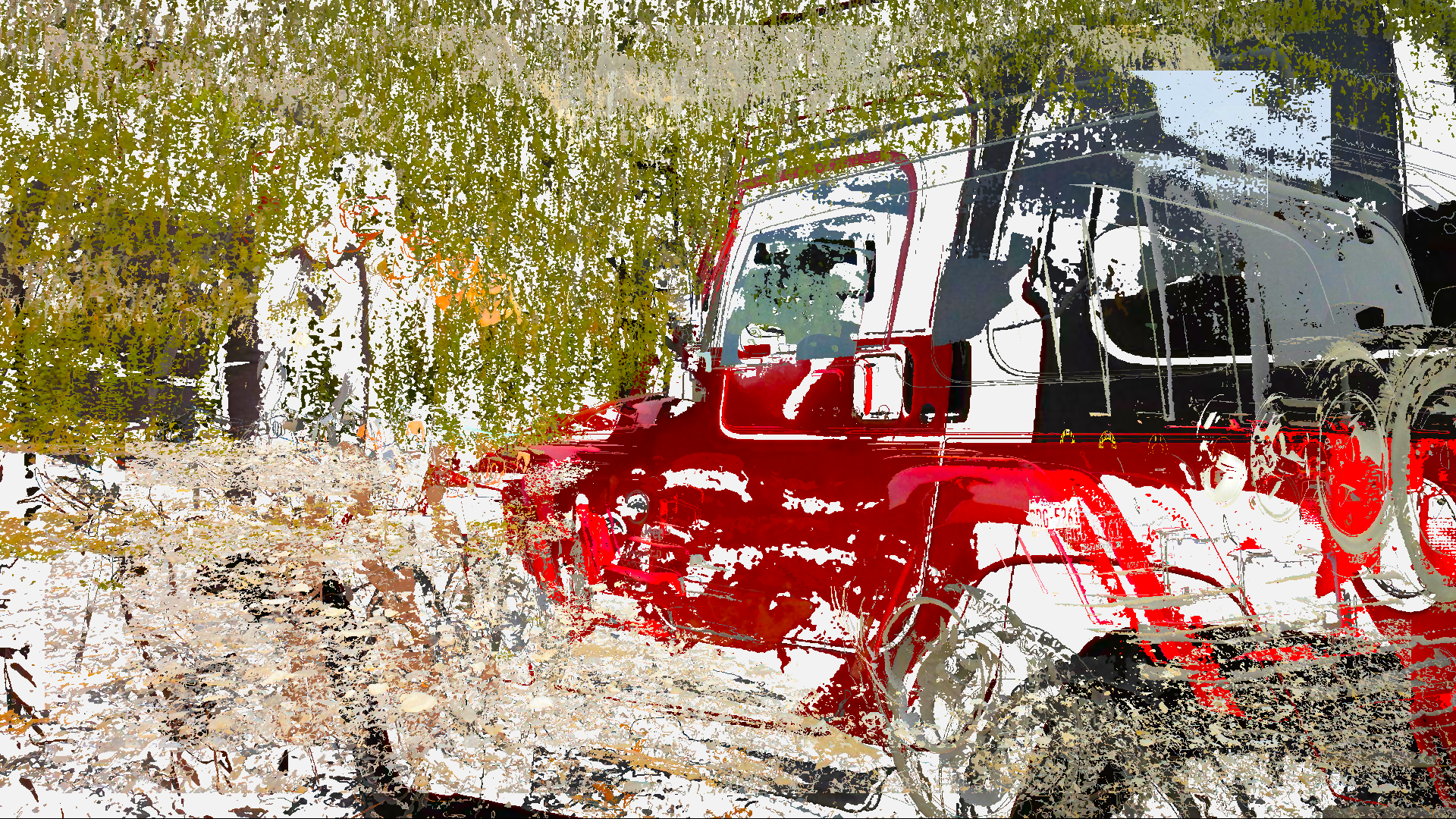 Abstract Jeep Red
