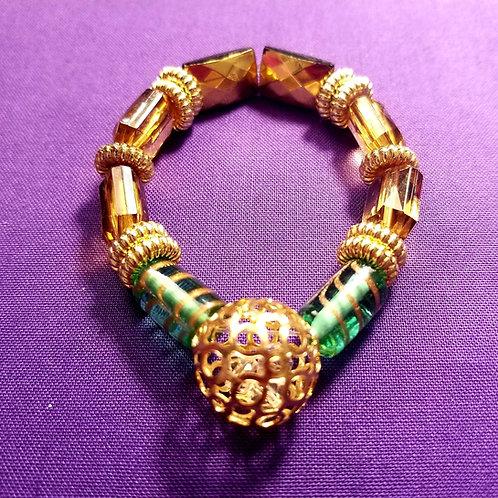 Turquoise Gold Swirl & Ball Bracelet