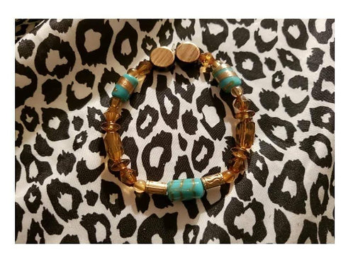 FABB'S Brown & Turquoise Handmade Bracelet