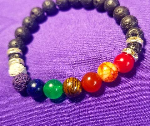 Black Lava Chakra Bracelet
