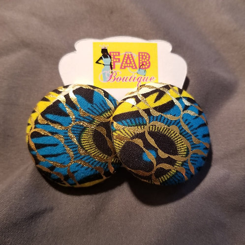 FABB Blue Peacock Button Studs