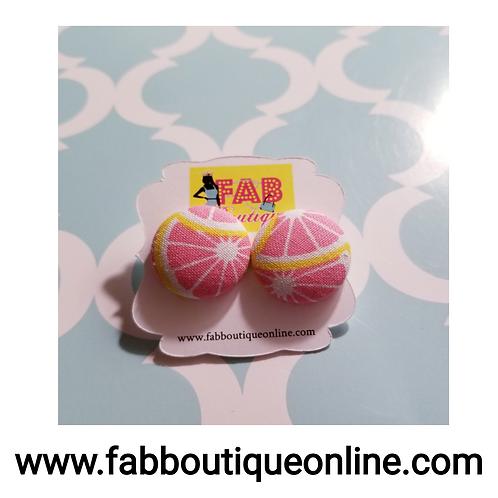 Grapefruit Button Studs