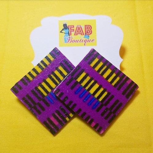 FABB Electric Purple Diamond Shape Ankara Handmade Studs