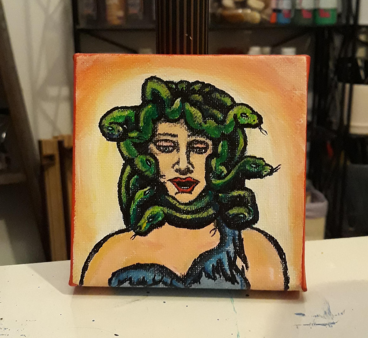 35 minute acrylic of Medusa. No reference used.