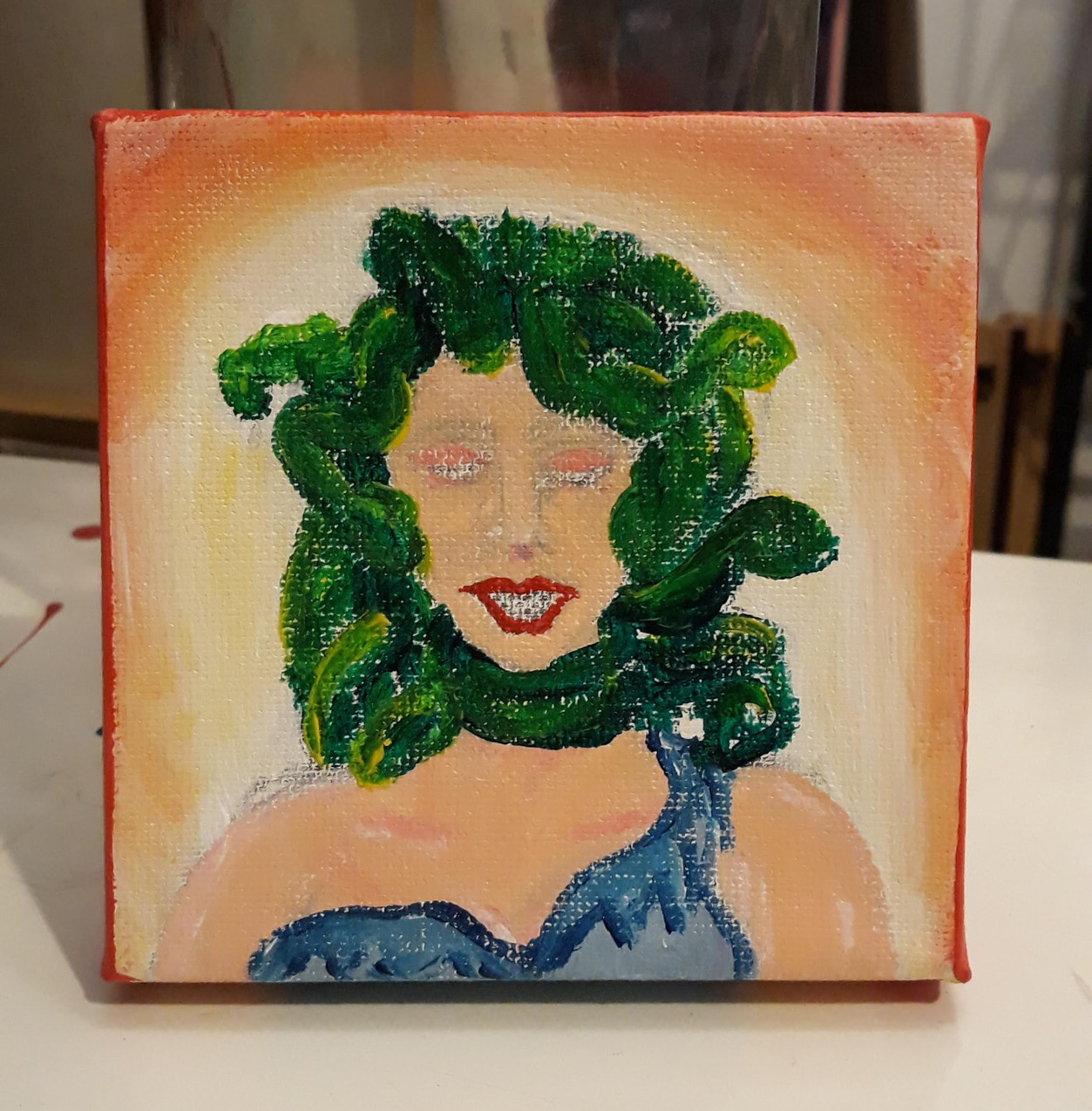 20 minute acrylic of Medusa. No reference used.