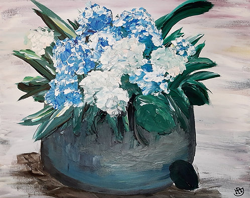 Blue & White Hydrangeas
