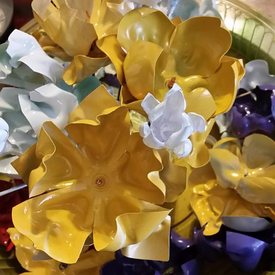 Bottle flowers ready for stems!