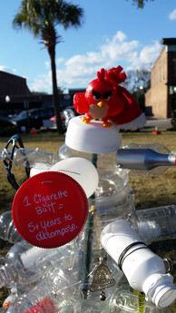 Christmas on the Square 2017 Display for Renewed Views. Made from discarded household items and litter found in Summerville.