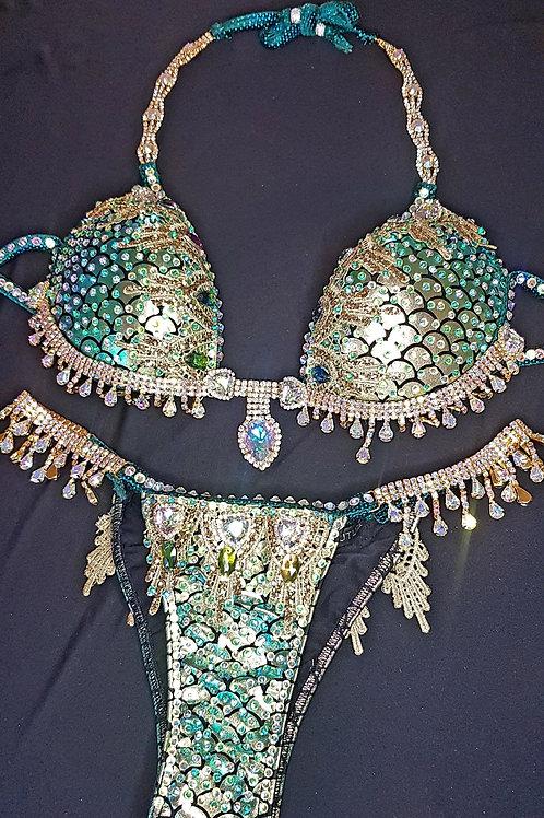 Mermaid Green and Gold Bikini