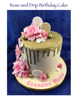 Rose and Drip Double Height Birthday Cak