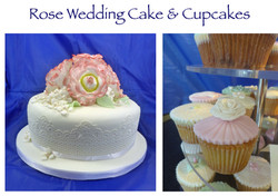 Rose Wedding Cake and Cupcakes