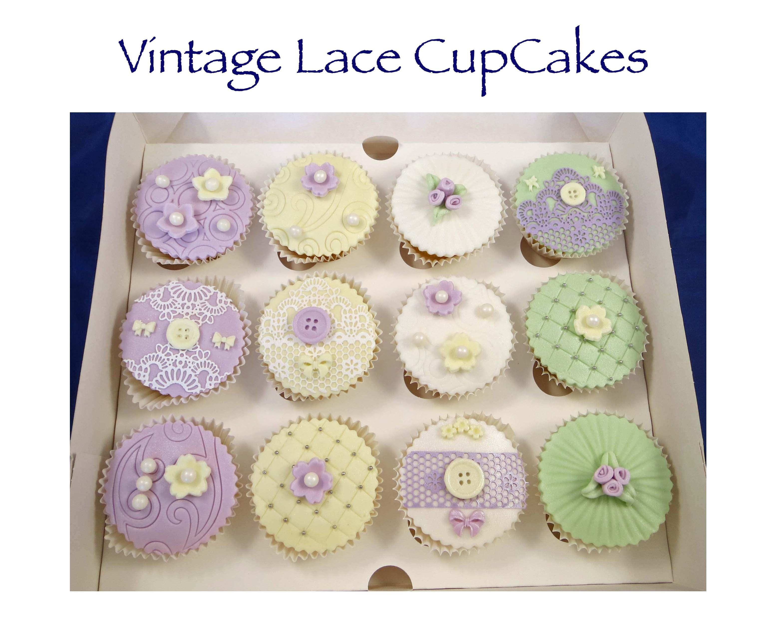 Vintage Lace Pastel Cupcakes