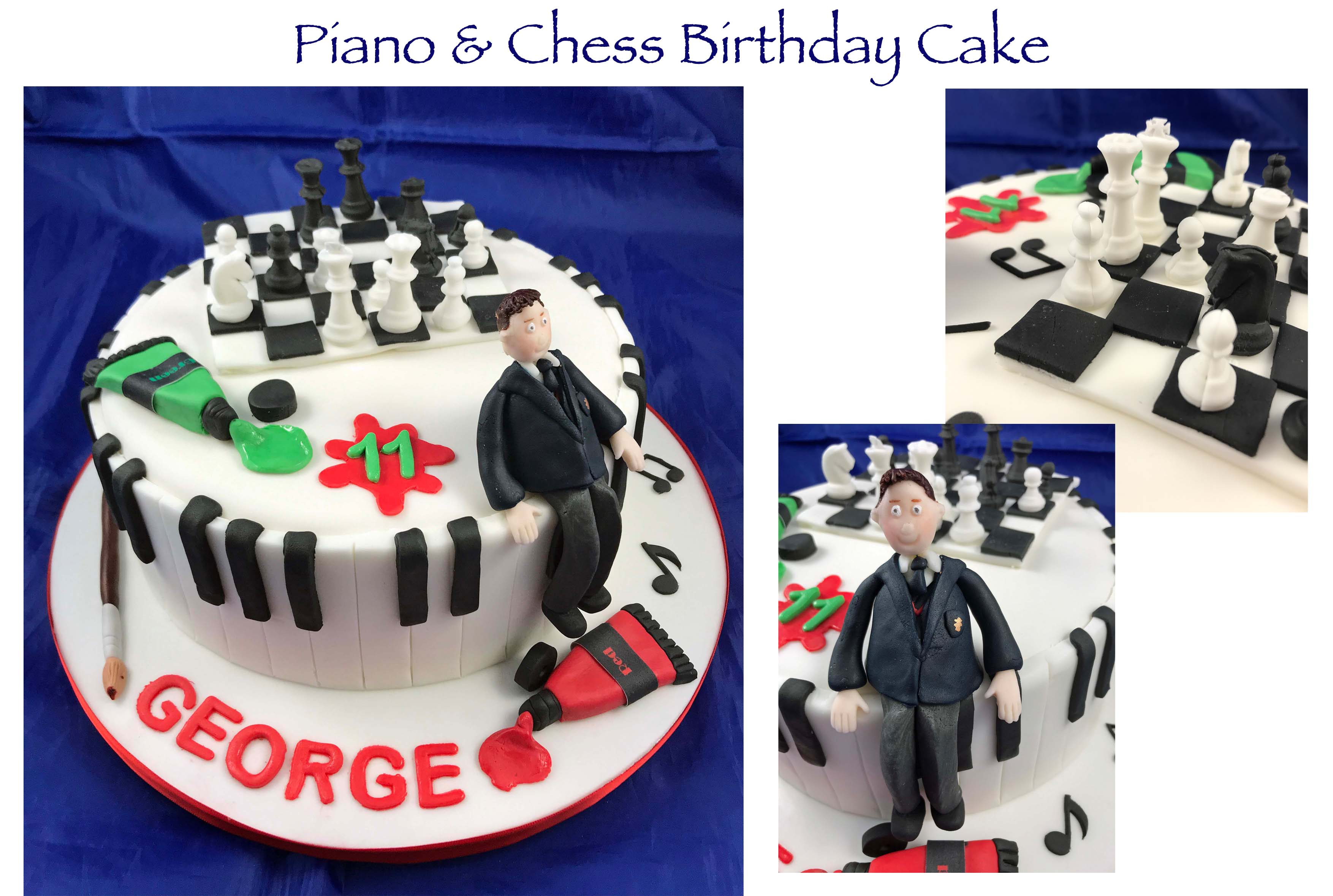 Piano and Chess Birthday Cake