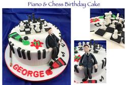 Piano and Chess Birthday Cake
