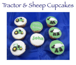 Tractor and Sheep Cupcakes