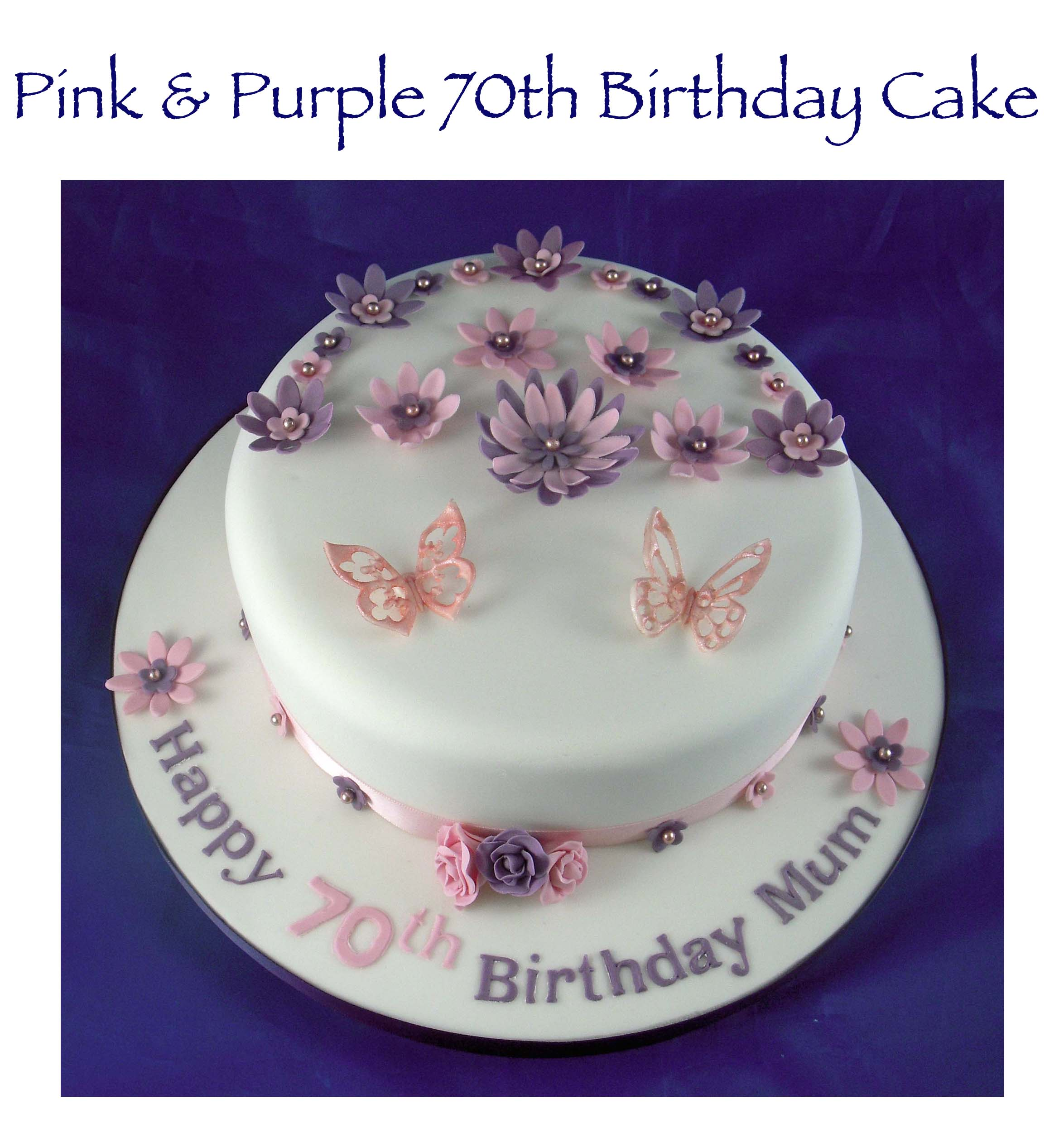 Pink and Purple Flower and Butterfly cake 1