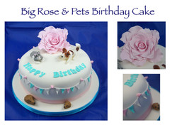 Big Rose and pets cake