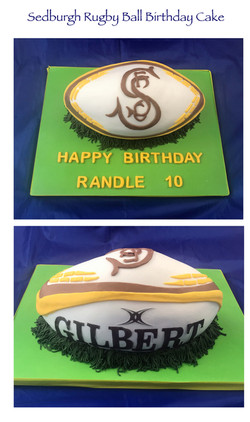 Sedburgh Rugby Ball Birthday Cake