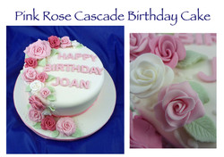 Pink Rose Cascade Birthday Cake
