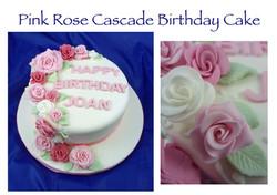 Pink Rose Cascade Birthday Cake