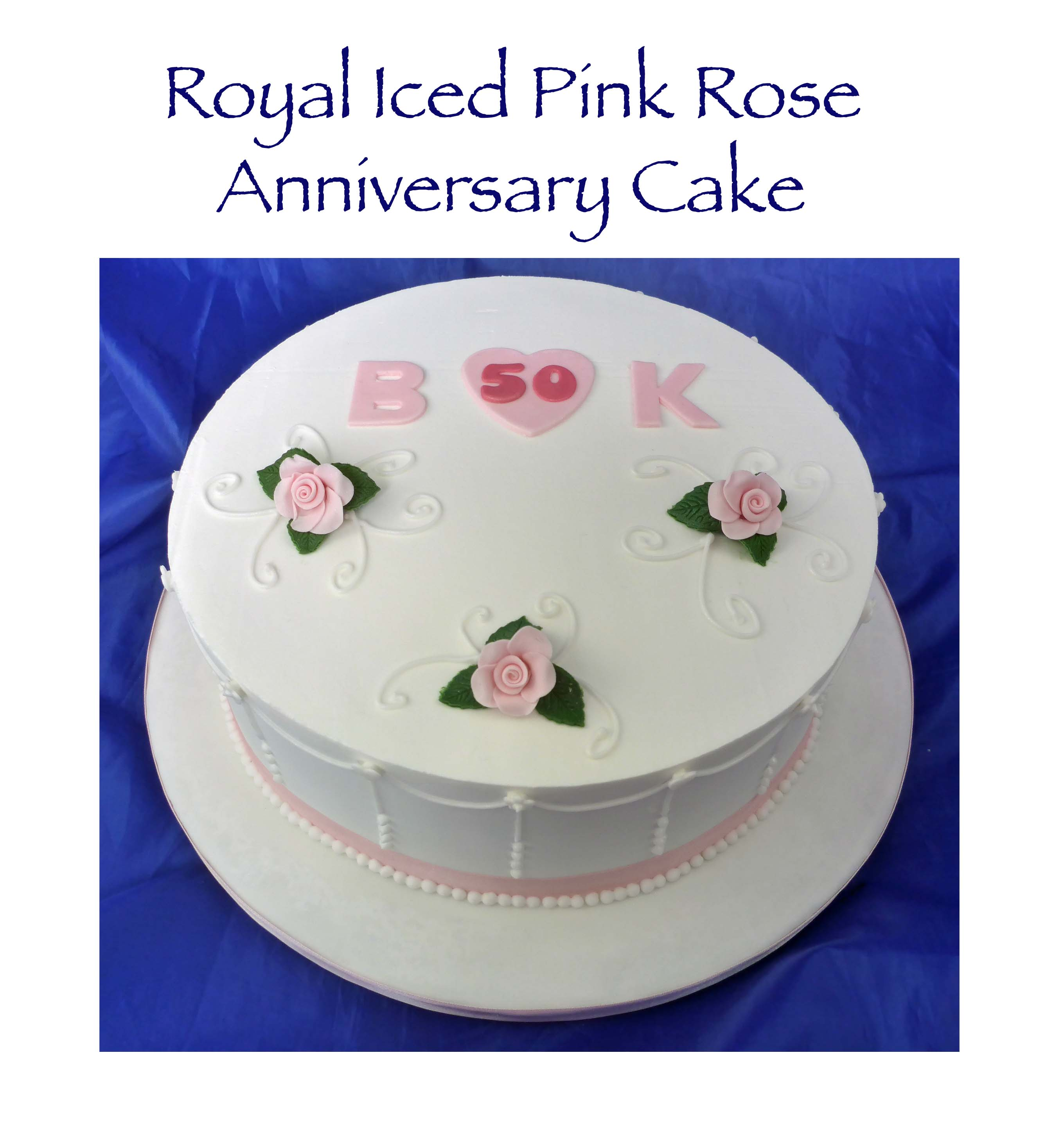 Royal Iced Pink Rose Anniversary Cake