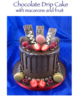 Chocolate Drip Cake with fruit and macar