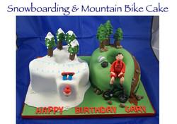 Snowboarding and Mountain Bike Cake