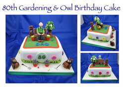 80th Gardening and Owls Cake
