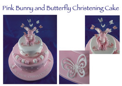 Pink Bunny and Butterfly Christening Cake