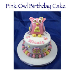Pink Owl Birthday Cake