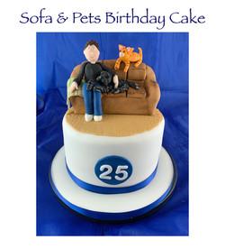 Sofa and Pets Birthday Cake