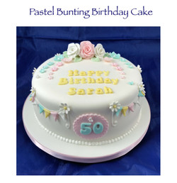 Pastel Bunting Birthday Cake