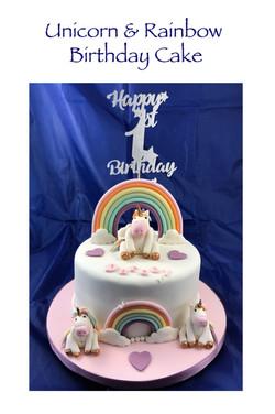 Unicorn and Rainbow Birthday Cake