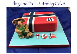 Flag and Troll Birthday Cake