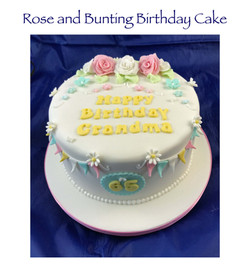 Rose and Bunting Birthday Cake